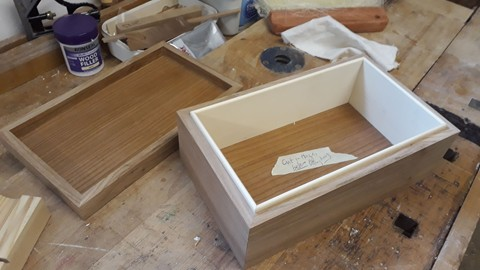 an elm jewellery box in the making